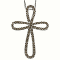 Sterling Silver Bow Cross Necklace with Cubic Zirconium Smokey Topaz Stones
