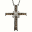 Sterling Silver Cross Necklace with Cubic Zirconium Smokey Topaz & Crystal Stones