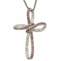 Sterling Silver Bow Cross Necklace with Cubic Zirconium Amethyst & Crystal Stones