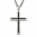 "Sterling Silver Cross Necklace in a Black Enameled Design on 24"" Chain"