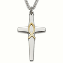 "Sterling Silver Cross Necklace in a 2-Tone Design with a Polished Gold Fish on 24"" Chain"