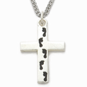Sterling Silver Cross Necklace in a Footprints Design