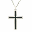 "Sterling Silver Cross Necklace in a Black Enameled Polished Trim Design on 24"" Chain"