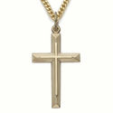 "Sterling Silver 14K Gold Finish Cross Necklace in an Inner Cross and Beveled Design on 24"" Chain"