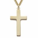 "14K Gold Over Sterling Silver Cross Necklace in a Plain Style Design on 24"" Chain"