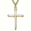 "14K Gold over Sterling Silver 2-Tone Nail Cross Necklace on 24"" Chain"