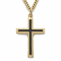 "14K Gold over Sterling Silver  Black Enameled Cross Necklace on 24"" Chain"