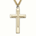 "14K Gold Over Sterling Silver Cross Necklace  with Inner Nail Cross on 24"" Chain"