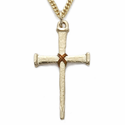 "14K Gold over Sterling Silver Cross Necklace in a Rope Centered Nail Design on 24"" Chain"