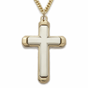 "14K Gold over Sterling Silver 2-Tone Cross Necklace on 24"" Chain"