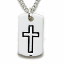 "Sterling Silver Cross Necklace in a Dog Tag Design on 18"" Chain"