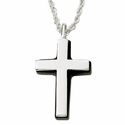 """Sterling Silver Cross Necklace in a Silver Polished Finish and Black Onyx Border on 24"""" Chain"""