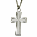 """Sterling Silver Cross Necklace in a Polished Edge Flared Design on 24"""" Chain"""