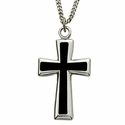 """Sterling Silver Cross Necklace in a Black Enameled and Silver Border Finish on 24"""" Chain"""