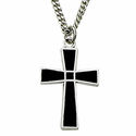 """Sterling Silver Cross Necklace in a Black Enameled and Silver Border Design on 18"""" Chain"""