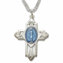 Sterling Silver Blue Enameled Miraculous Medal Cross in a Polished Satin Finish