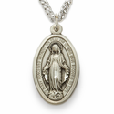 "Sterling Silver Oval Miraculous Medal in a Satin and Polished Border Finish on 24"" Chain"