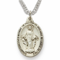 Sterling Silver Oval Miraculous Medal in a Satin Finish