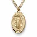 "14K Gold Filled Oval Mirculous Medal in a Satin Finish on 18"" Chain"