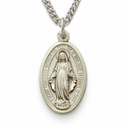 "Sterling Silver Oval Miraculous Medal in a Hand Engraved Satin Finish on 18"" Chain"
