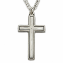 Sterling Silver Cross Necklace in a Diamond Engraved Design