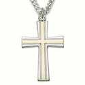 "Sterling Silver Cross Necklace in a 2-Tone Design on 24"" Chain"
