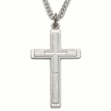 "Sterling Silver Cross on Cross Necklace on 24"" Chain"