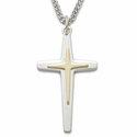 "Sterling Silver Cross on Cross Necklace in a 2-Tone Design on 24"" chain"