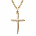 "14K Gold Filled Cross Necklace in a Stick Style Design on 16"" Chain"