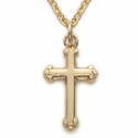 "14K Gold Filled Cross Necklace in a Budded Ends Design on 16"" Chain"