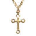 "14K Gold Filled Cross Necklace in Pierced Heart Ends Design on 18"" Chain"