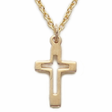 "Sterling Silver 14K Gold Finish Cross Necklace on 18"" Chain"