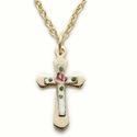 "Sterling Silver 14K Gold Plated Cross Necklacew/ Enameled Inner Rose Cross on 18"" Chain"