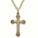 "Sterling Silver 14K Gold Finish Cross Necklace in a Budded Antiqued Design on 18"" Chain"