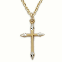 "Sterling Silver 14K Gold Finish Cross Necklace in a 2-Tone Pointed Ends Design on 18"" Chain"