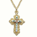 "Sterling Silver 14K Gold Finish Cross Necklace in a Filagree and White Enameled Inner Cross with Rose Design on 18"" Chain"