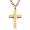 "Sterling Silver 14 Gold Finish Cross Necklace in an Engraved Design on 18"" Chain"