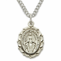 "Sterling Silver Oval Miraculous Medal in a Polished Finish and Decorative Border Design on 18"" Chain"