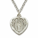 "Sterling Silver Heart  Shaped Miraculous Medal in Polished Border Finish on 18"" Chain"