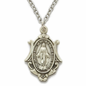"Sterling Silver Shell Shaped Miraculous Medal in a Antiqued Finish on 18"" Chain"