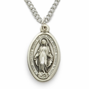 "Sterling Silver Oval Miraculous Medal in a Satin and Polished Border Finish on 18"" Chain"