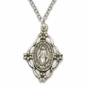 Sterling Silver Filigree Oval Miraculous Medal in an Antiqued Finish