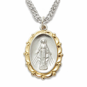 "Sterling Silver 2-Tone Oval Miraculous Medal With a Decorative and Gold Border Finish on 20"" Chain"