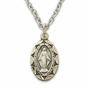 "Sterling Silver Oval Miraculous Medal in a Satin Finish on 16"" Chain"