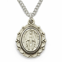 "Sterling Silver Oval Miraculous Medal  in a Decorative Border Design on 18"" Chain"