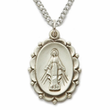 """Sterling Silver Oval Miraculous Medal in a Decorative Border Design on 18"""" Chain"""