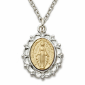 "Sterling Silver 2-Tone Filigree Miraculous Medal on 18"" Chain"