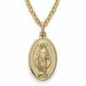14K Gold Filled Oval Engraved Miraculous Medal