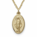 """14K Gold Filled Oval Engraved Miraculous Medal on 18"""" Chain"""