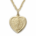 "Sterling Silver 14K Gold Finish Heart Shaped Miraculous Medal Necklace on 18"" Chain"